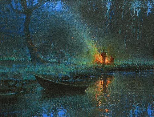 """""""Twilight Camp,"""" by Brent Cotton, oil, 7 x 9 in. Best Nocturne in the August-September contest of the PleinAir Salon"""