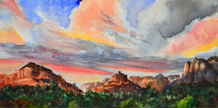 """Entering Sedona,"" by Robert Masla, watercolor on canvas paintboard, 8 x 16 in."