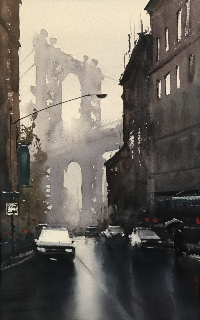 """Early Rain in Brooklyn,"" by Daniel Marshall, watercolor, 16 1/2 x 10 1/2 in."