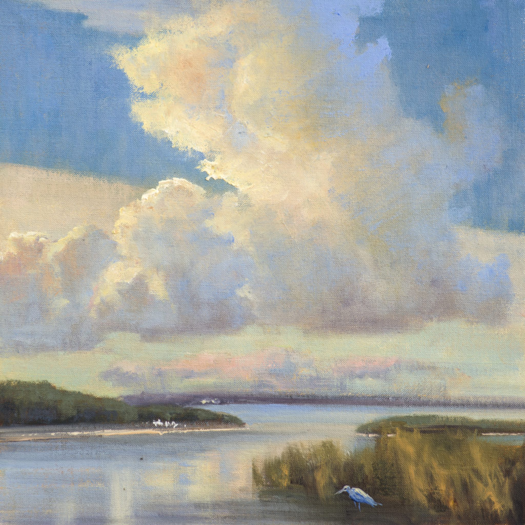 """""""Bringing in the Clouds,"""" by Mary Garrish, 2017, oil on linen, 12 x 12 in. Collection the artist"""