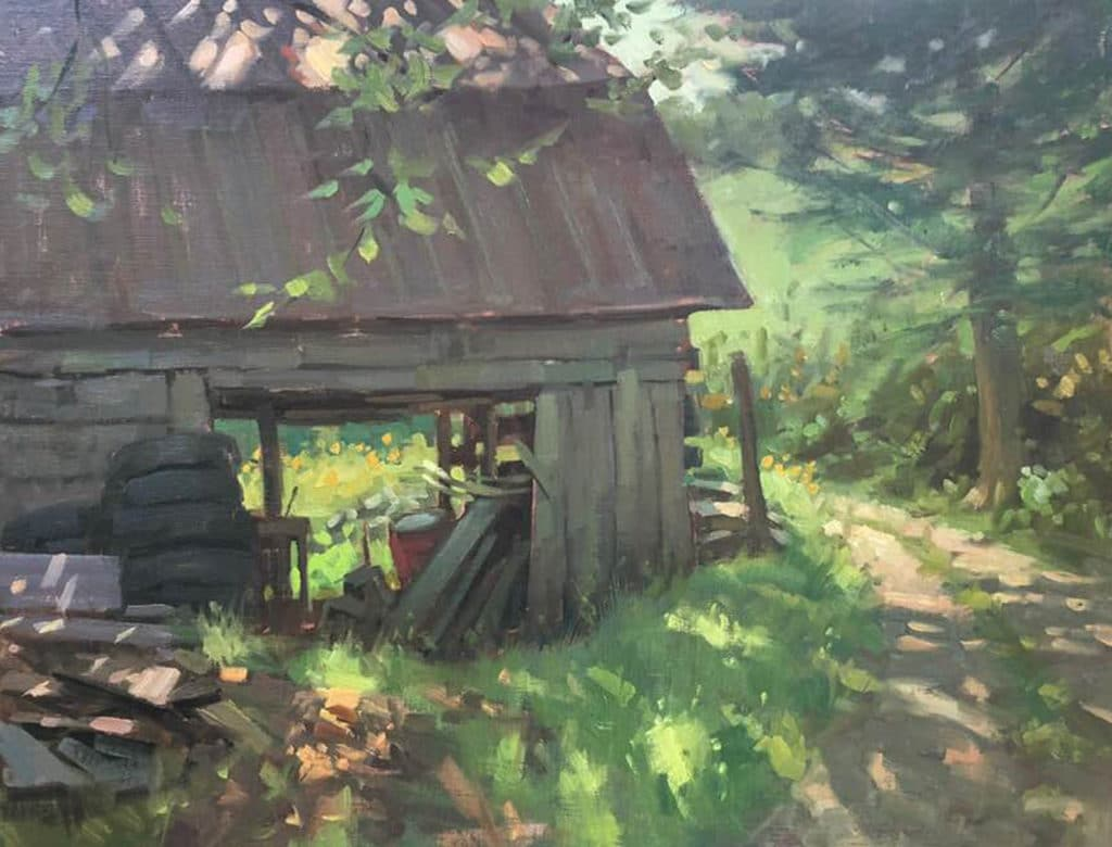 "Bill Farnsworth, ""Cheers ,"" 2018, oil, 14 x 18 in. Private collection, Plein air"