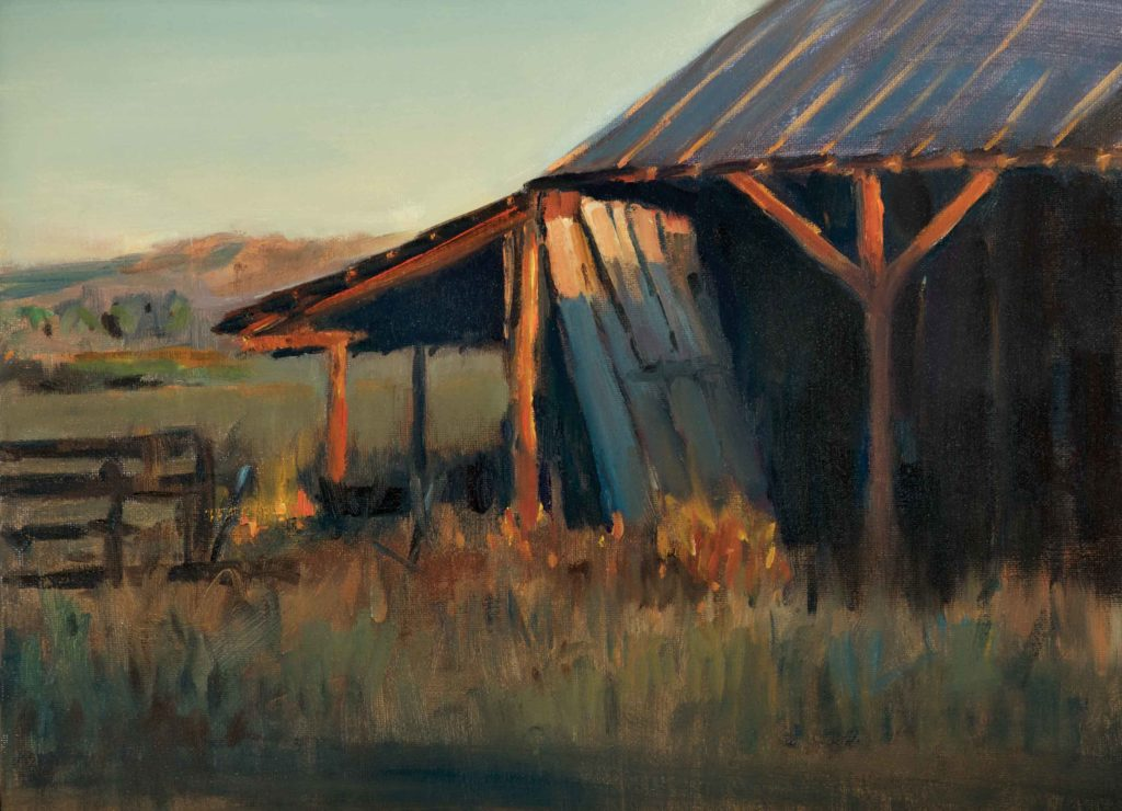 "Peter Campbell, ""The Neighbor's Barn,"" 2018, oil, 11 x 14 in. Collection the artist, Plein air"